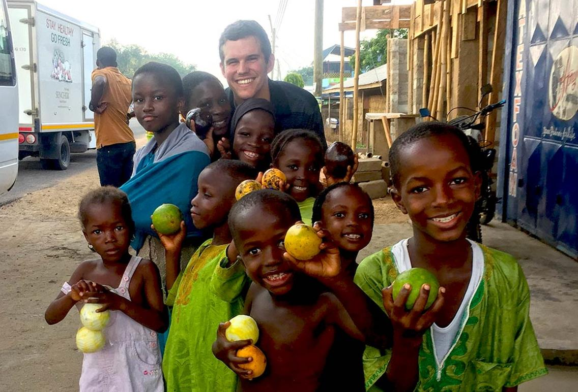 Taylor Winn with Ghanaian children