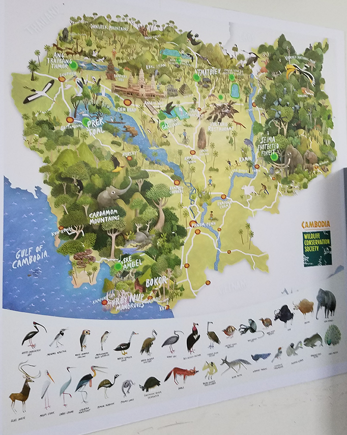 Cambodia wildlife conservation map