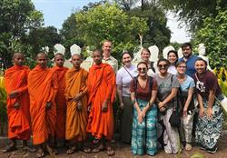 Cambodia Field Course students with monks