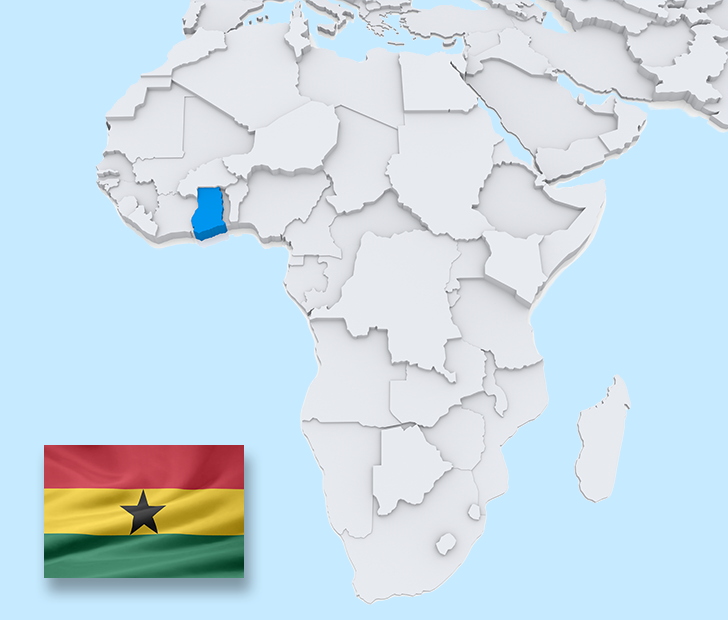 Ghana map and flag