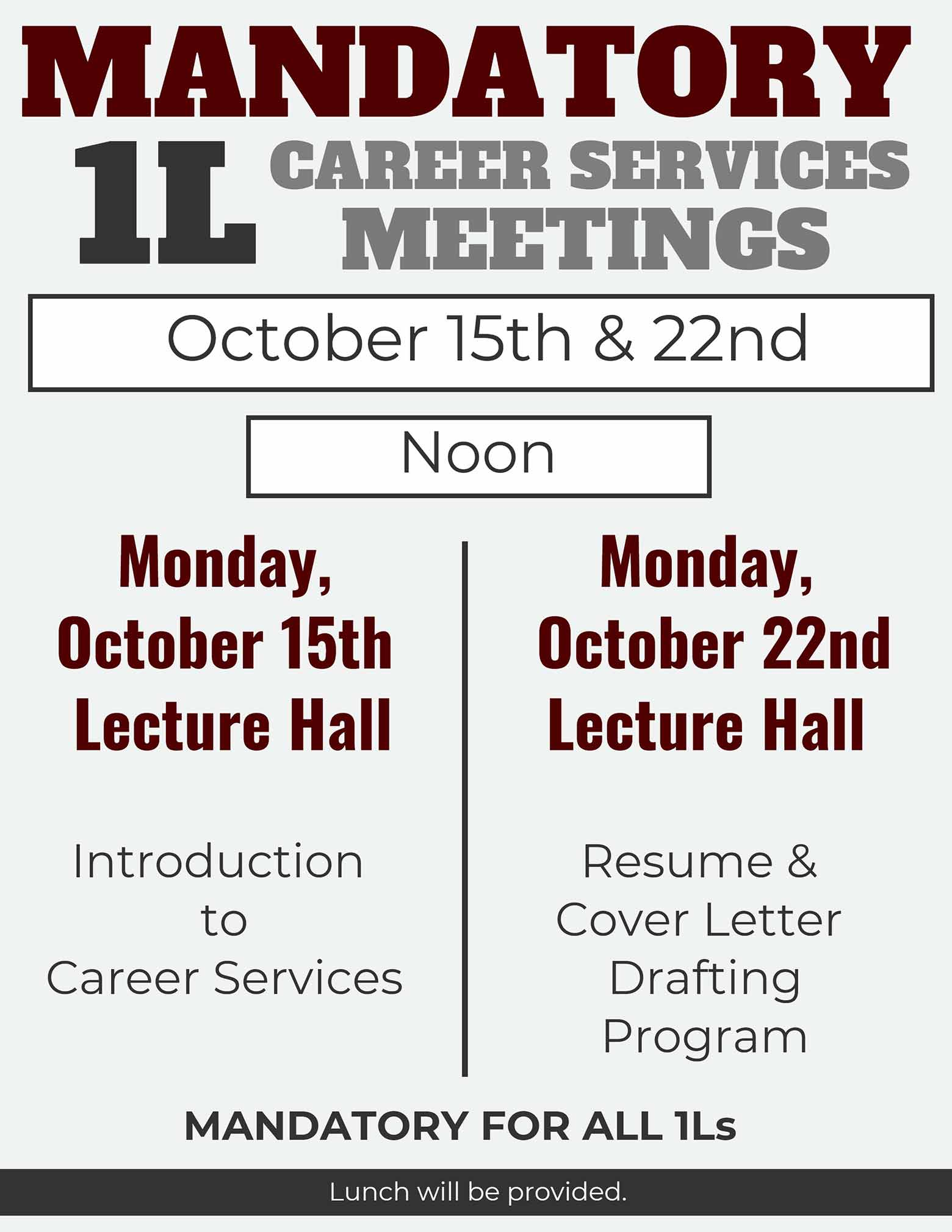 Mandatory 1L Career Services Meetings 2018