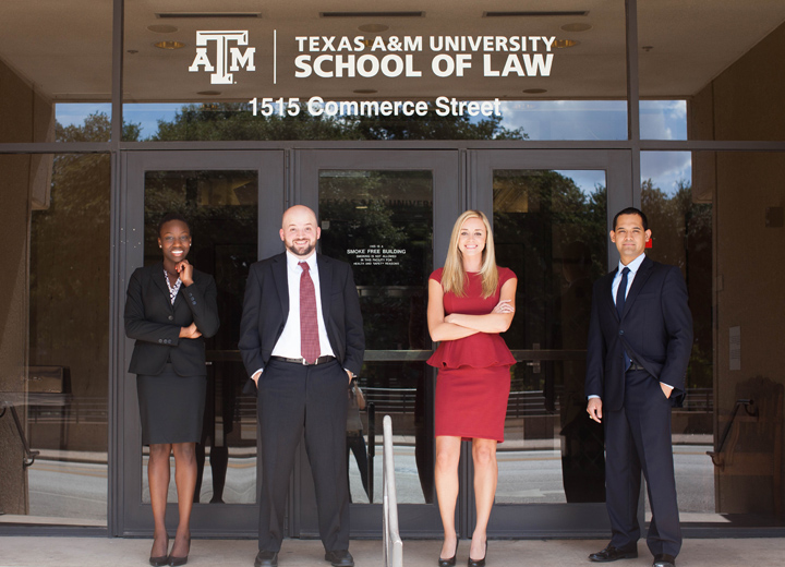 Texas A&M School of Law students in front of the Law School