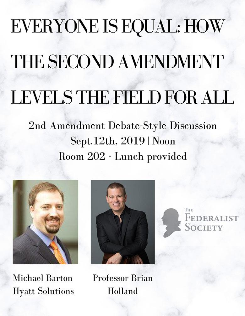 Federalist Society Debate event flyer 9-12-19