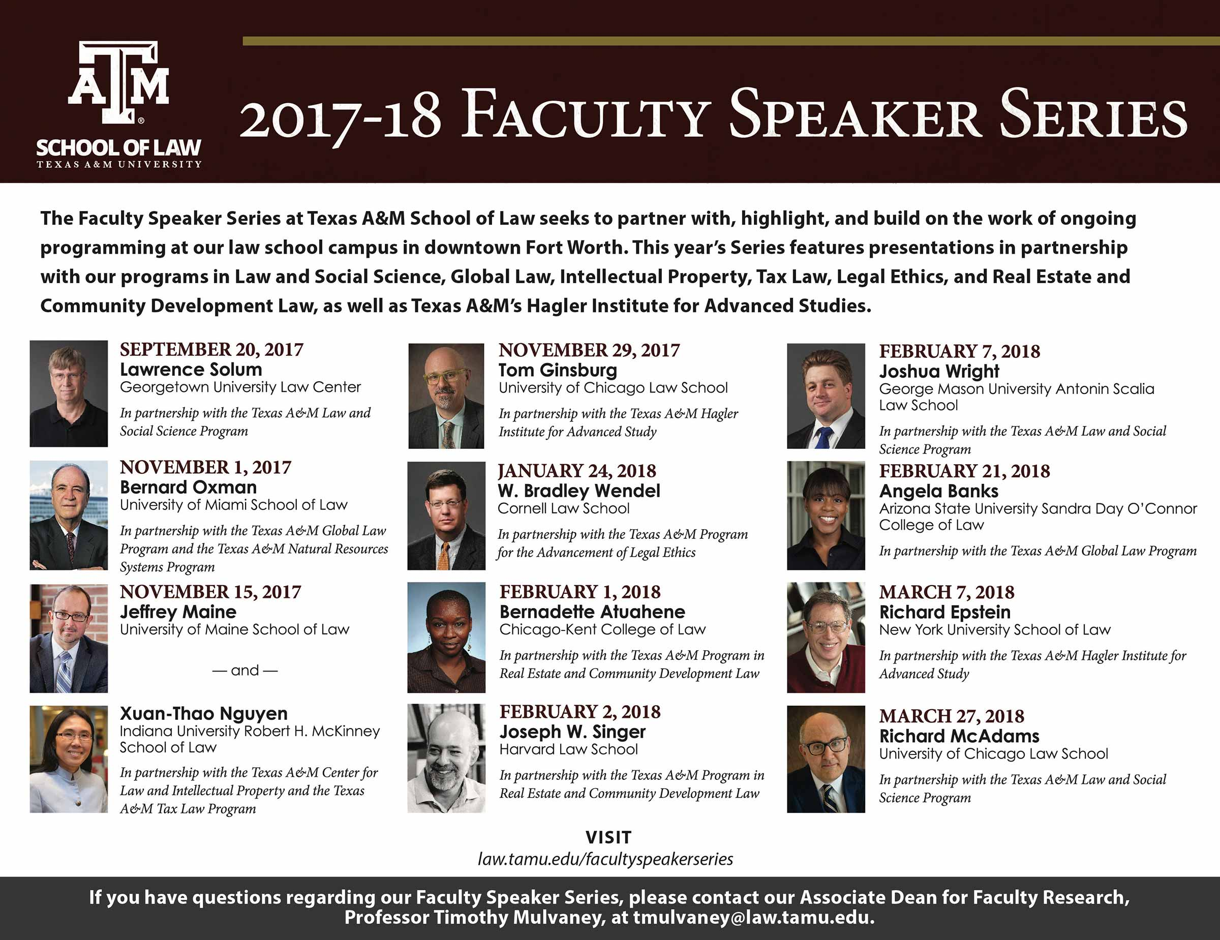 Faculty Speaker Series 2017-18