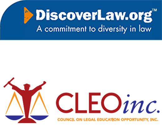Discover Law logo and CLEO logo