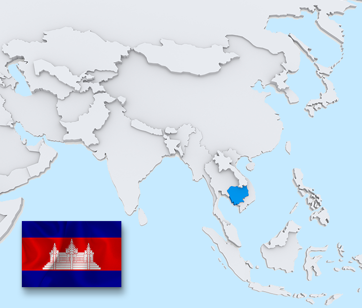 Cambodia map and flag