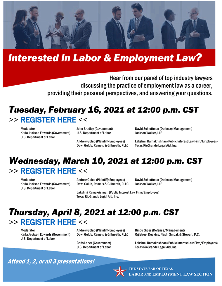 Labor and Employment career panels flyer